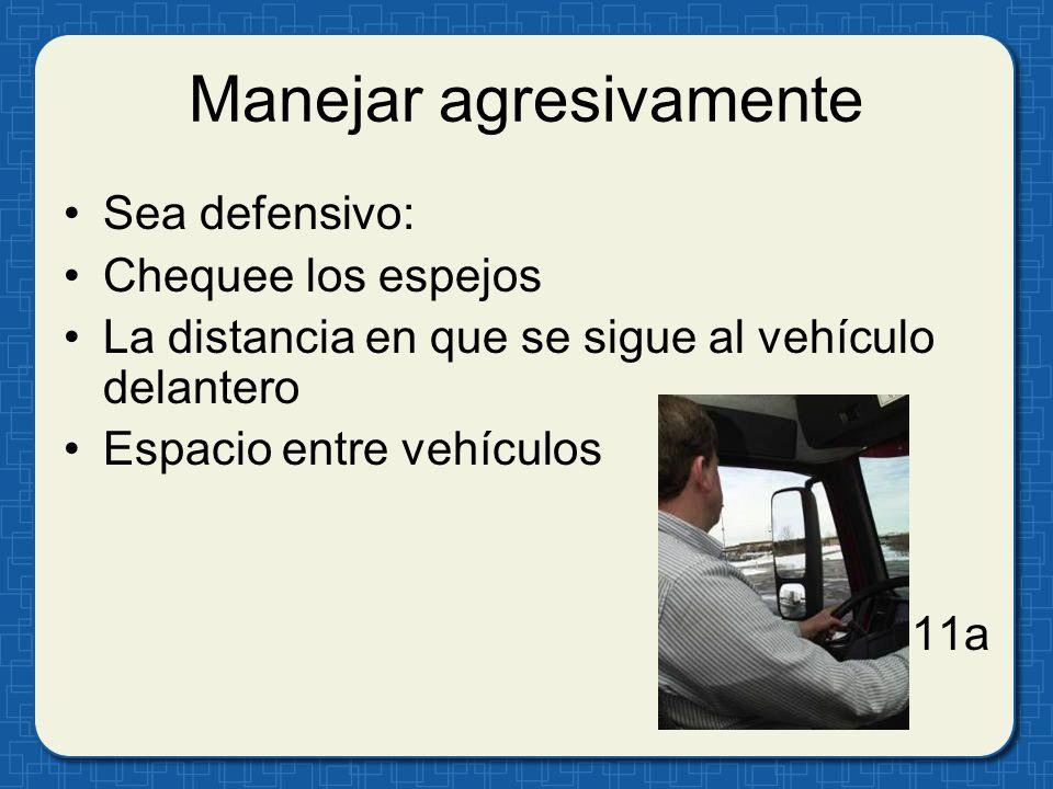 Manejar agresivamente Sea defensivo: Chequee los espejos La distancia en que se sigue al vehículo delantero Espacio entre vehículos 11a