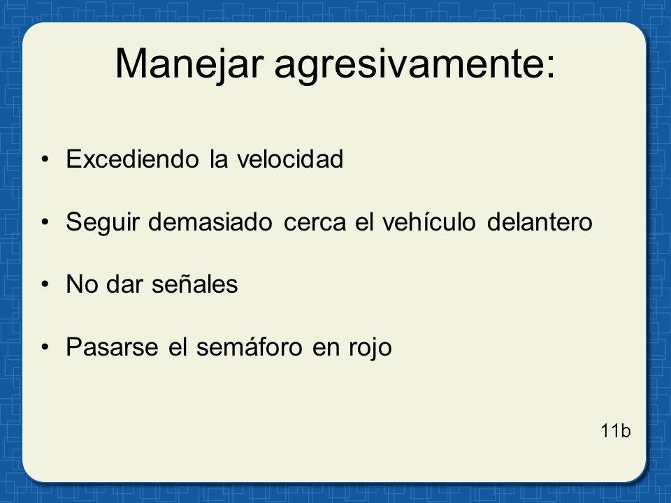 Manejar agresivamente: Excediendo la velocidad Seguir demasiado cerca el vehículo delantero No dar señales Pasarse el semáforo en rojo 11b