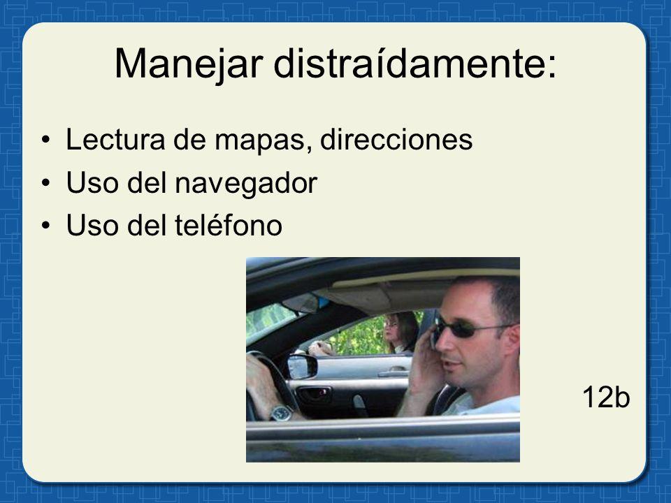 Manejar distraídamente: Lectura de mapas, direcciones Uso del navegador Uso del teléfono 12b
