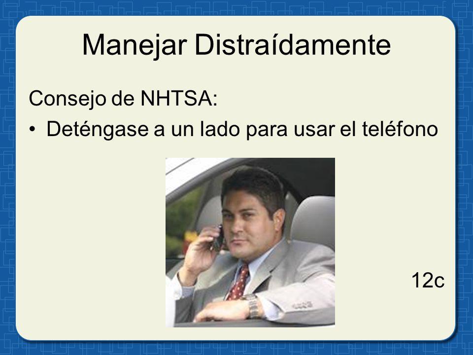 Manejar Distraídamente Consejo de NHTSA: Deténgase a un lado para usar el teléfono 12c