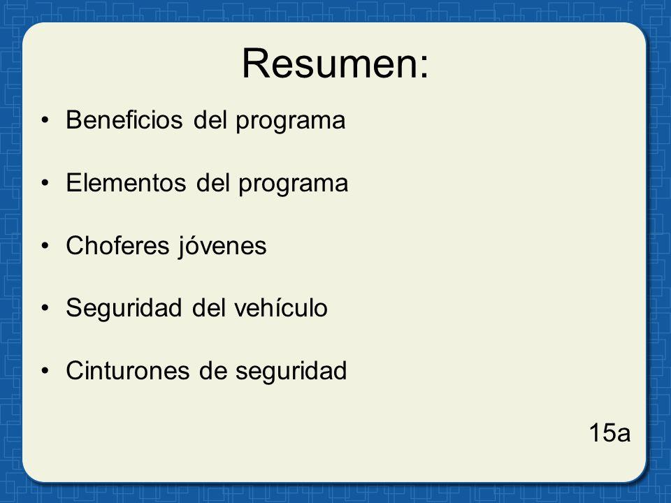 Resumen: Beneficios del programa Elementos del programa Choferes jóvenes Seguridad del vehículo Cinturones de seguridad 15a