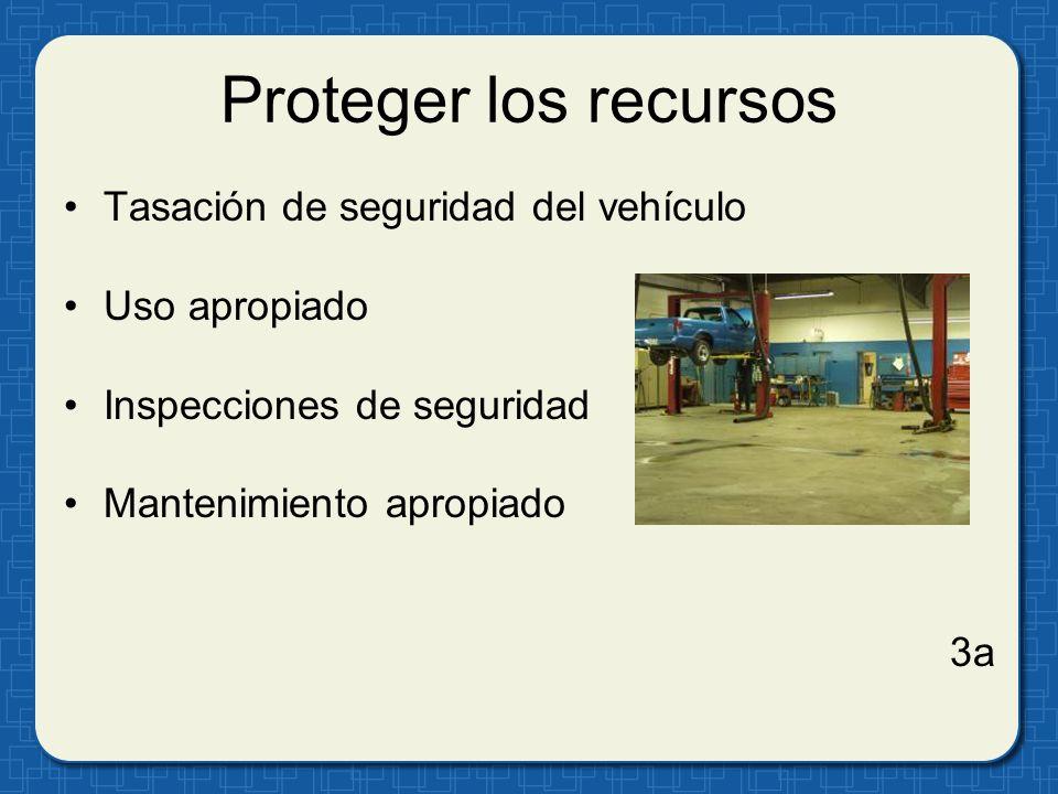 Proteger los recursos Tasación de seguridad del vehículo Uso apropiado Inspecciones de seguridad Mantenimiento apropiado 3a