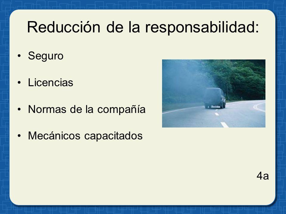 Inspecciones del vehículo: Daño visible Inflación de llantas, banda de rodadura Niveles de los líquidos 8a
