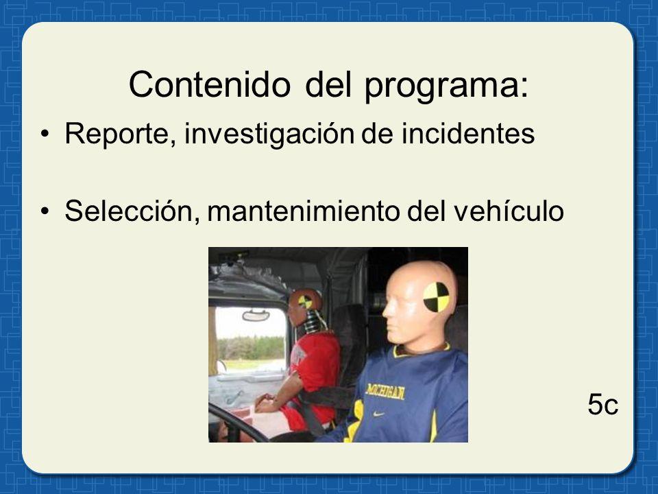 Contenido del programa: Acción disciplinaria Recompensas por seguridad 5d