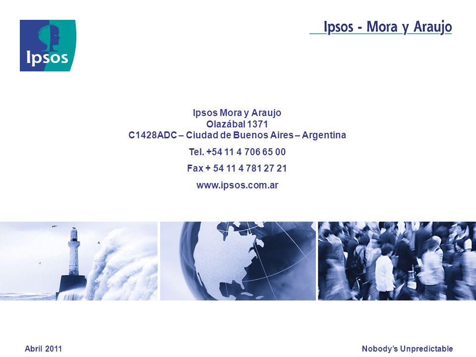 Nobodys Unpredictable Abril 2011 Ipsos Mora y Araujo Olazábal 1371 C1428ADC – Ciudad de Buenos Aires – Argentina Tel. +54 11 4 706 65 00 Fax + 54 11 4