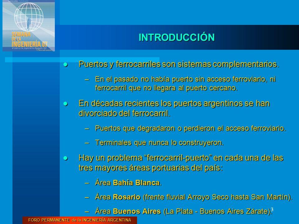 3 INTRODUCCIÓN Puertos y ferrocarriles son sistemas complementarios. Puertos y ferrocarriles son sistemas complementarios. –En el pasado no había puer