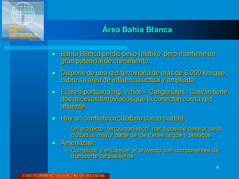 FORO PERMANENTE de la INGENIERÍA ARGENTINA 4 Área Bahía Blanca Bahía Blanca perdió peso relativo, pero mantiene un gran potencial de crecimiento. Bahí