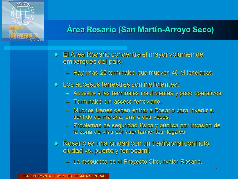 FORO PERMANENTE de la INGENIERÍA ARGENTINA 5 Área Rosario (San Martín-Arroyo Seco) El Área Rosario concentra el mayor volumen de embarques del país. E
