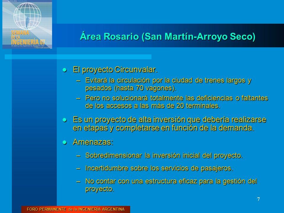 FORO PERMANENTE de la INGENIERÍA ARGENTINA 7 El proyecto Circunvalar. El proyecto Circunvalar. –Evitará la circulación por la ciudad de trenes largos