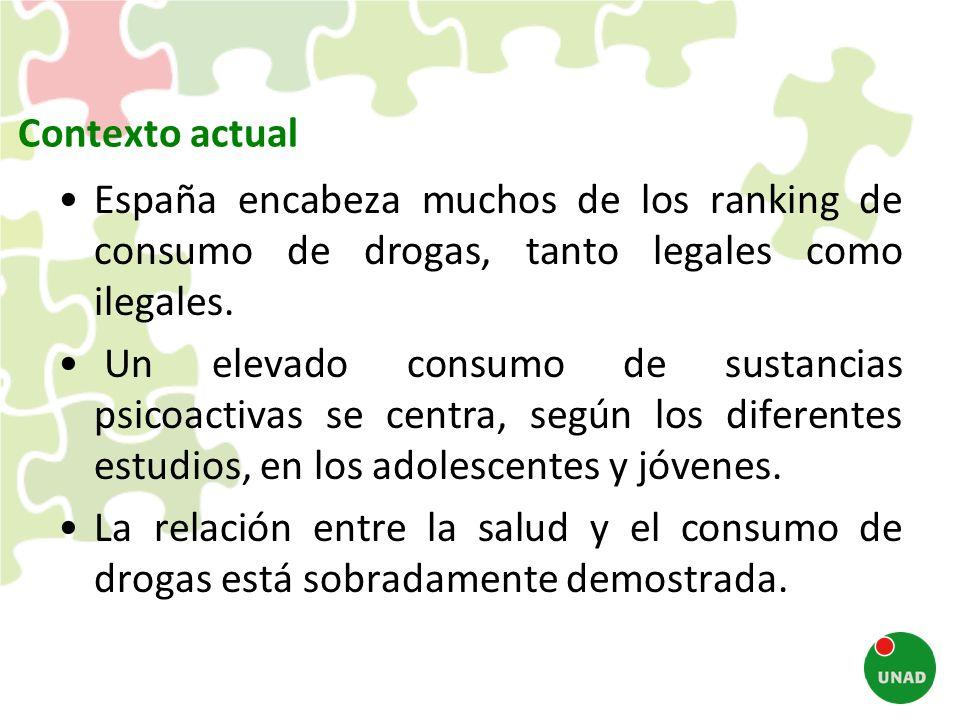 Contexto actual España encabeza muchos de los ranking de consumo de drogas, tanto legales como ilegales. Un elevado consumo de sustancias psicoactivas