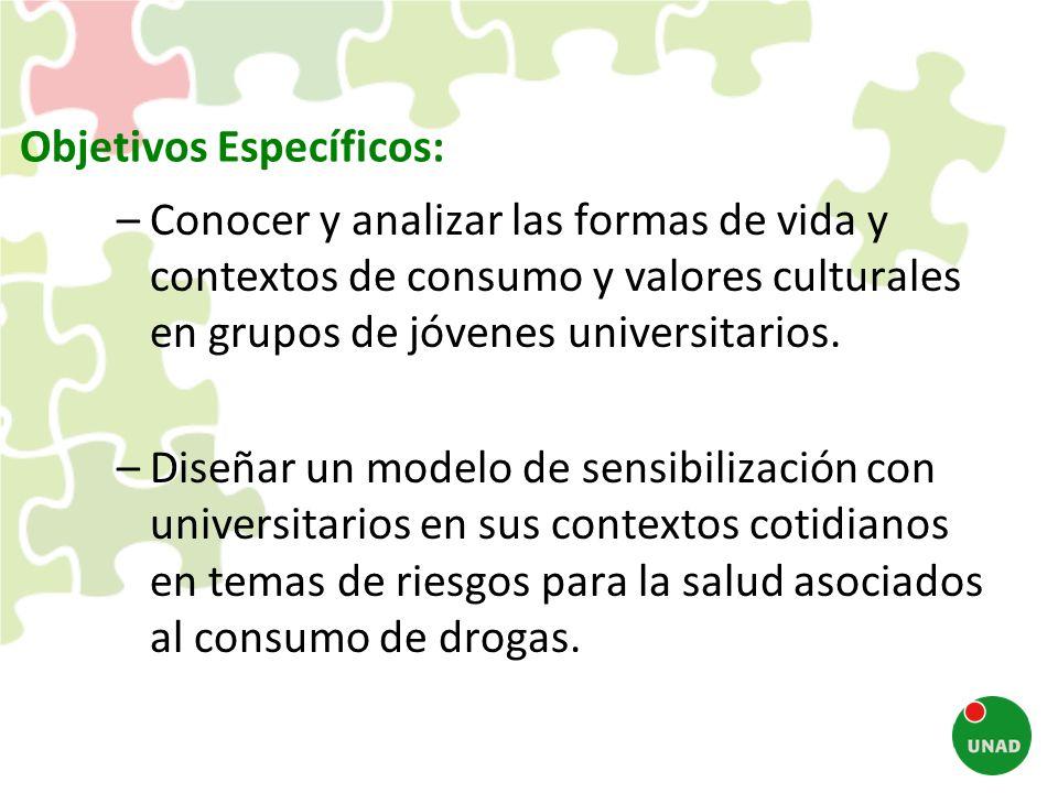 Objetivos Específicos: –Conocer y analizar las formas de vida y contextos de consumo y valores culturales en grupos de jóvenes universitarios. –Diseña