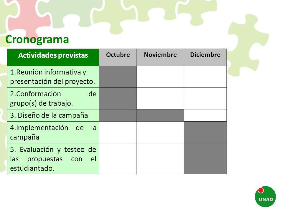 Actividades previstas OctubreNoviembreDiciembre 1.Reunión informativa y presentación del proyecto. 2.Conformación de grupo(s) de trabajo. 3. Diseño de