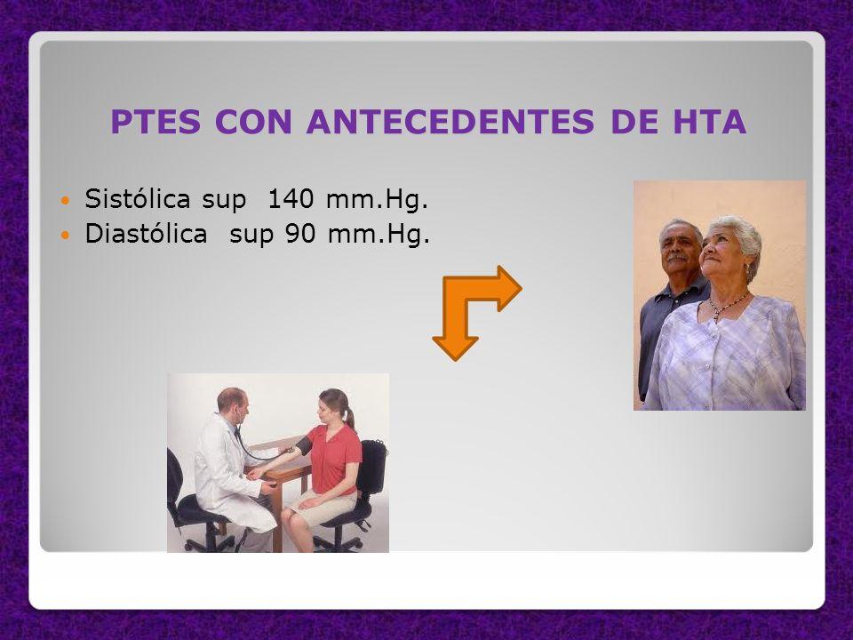 PTES CON ANTECEDENTES DE HTA Sistólica sup 140 mm.Hg. Diastólica sup 90 mm.Hg.