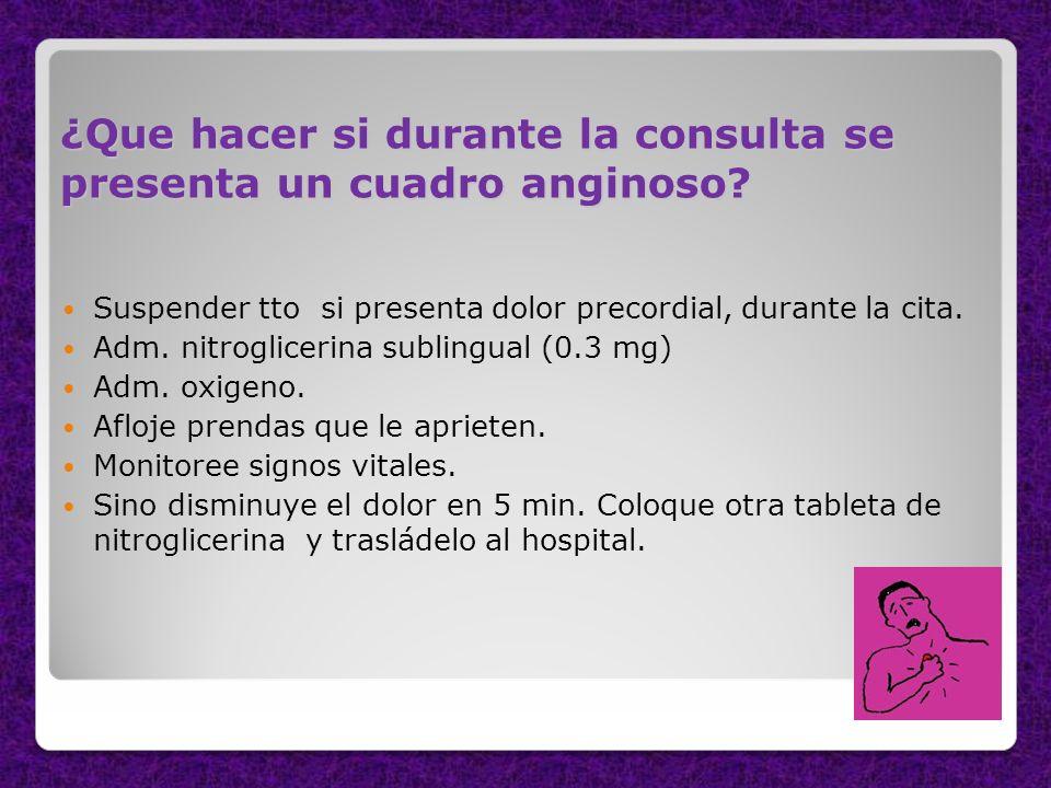 ¿Que hacer si durante la consulta se presenta un cuadro anginoso? Suspender tto si presenta dolor precordial, durante la cita. Adm. nitroglicerina sub