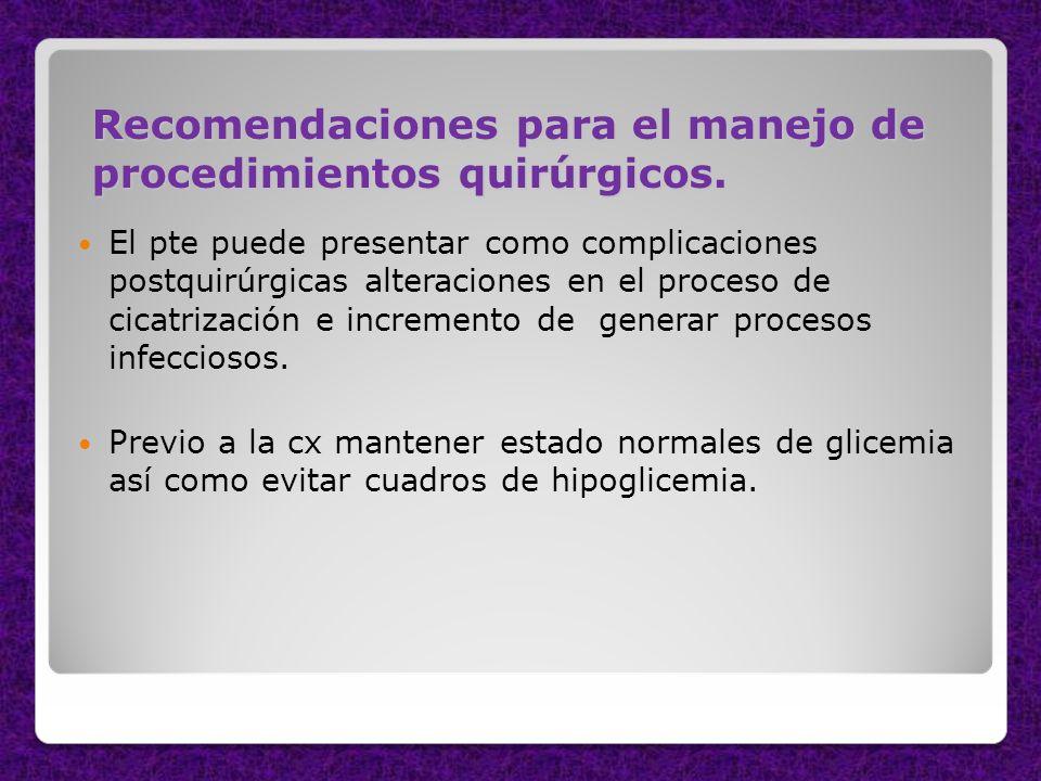 Recomendaciones para el manejo de procedimientos quirúrgicos. El pte puede presentar como complicaciones postquirúrgicas alteraciones en el proceso de