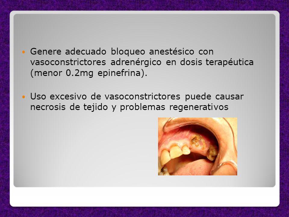 Genere adecuado bloqueo anestésico con vasoconstrictores adrenérgico en dosis terapéutica (menor 0.2mg epinefrina). Uso excesivo de vasoconstrictores