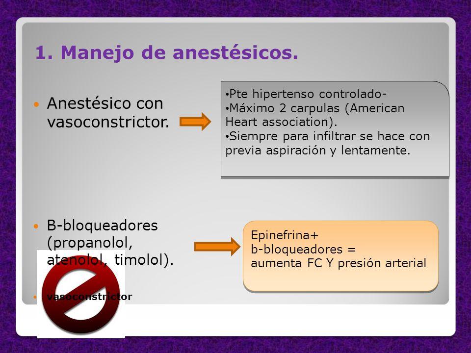 1. Manejo de anestésicos. Anestésico con vasoconstrictor. B-bloqueadores (propanolol, atenolol, timolol). vasoconstrictor Pte hipertenso controlado- M