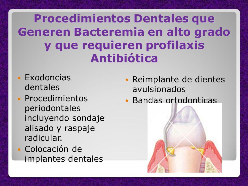 Procedimientos Dentales que Generen Bacteremia en alto grado y que requieren profilaxis Antibiótica Exodoncias dentales Procedimientos periodontales i