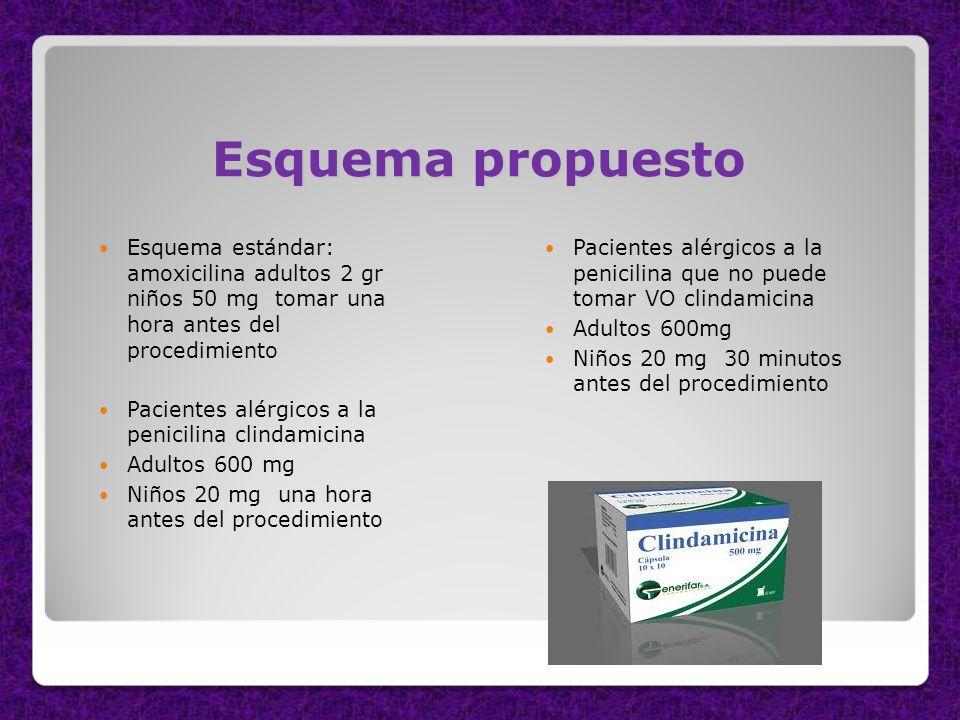 Esquema propuesto Esquema estándar: amoxicilina adultos 2 gr niños 50 mg tomar una hora antes del procedimiento Pacientes alérgicos a la penicilina cl