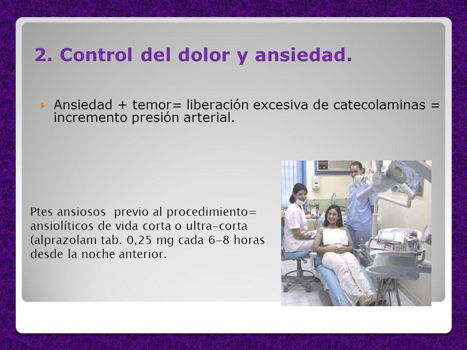 2. Control del dolor y ansiedad. Ansiedad + temor= liberación excesiva de catecolaminas = incremento presión arterial. Ptes ansiosos previo al procedi