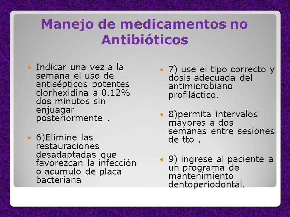 Manejo de medicamentos no Antibióticos Indicar una vez a la semana el uso de antisépticos potentes clorhexidina a 0.12% dos minutos sin enjuagar poste