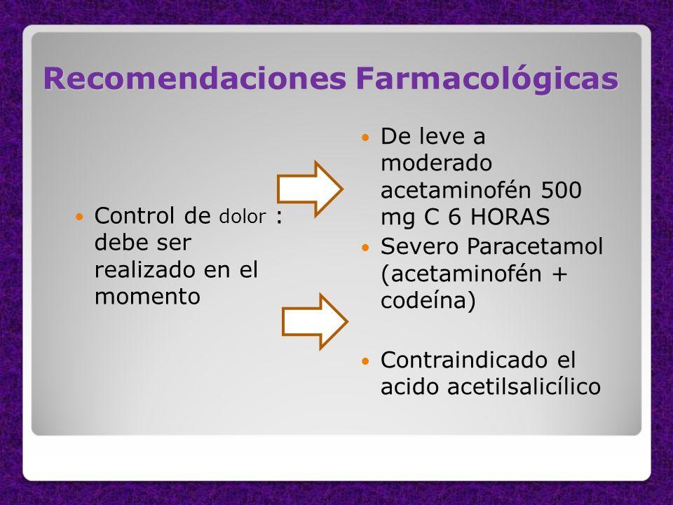 Recomendaciones Farmacológicas Control de dolor : debe ser realizado en el momento De leve a moderado acetaminofén 500 mg C 6 HORAS Severo Paracetamol
