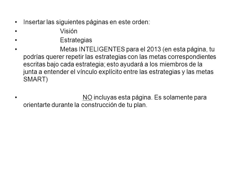 Insertar las siguientes páginas en este orden: Visión Estrategias Metas INTELIGENTES para el 2013 (en esta página, tu podrías querer repetir las estra