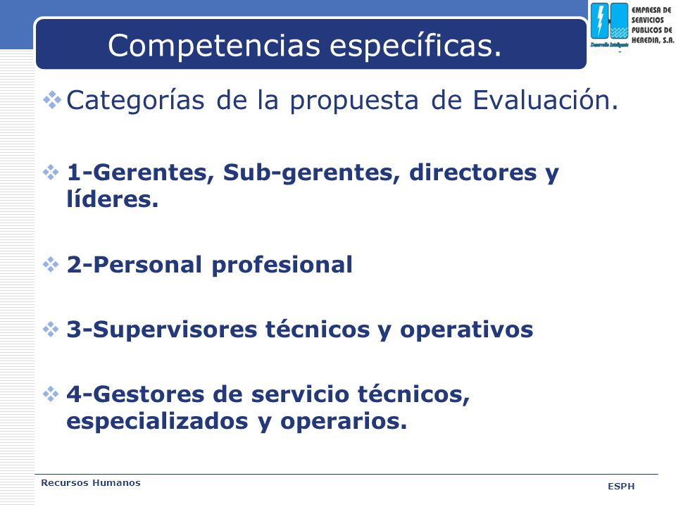 LOGO Competencias específicas. Categorías de la propuesta de Evaluación. 1-Gerentes, Sub-gerentes, directores y líderes. 2-Personal profesional 3-Supe