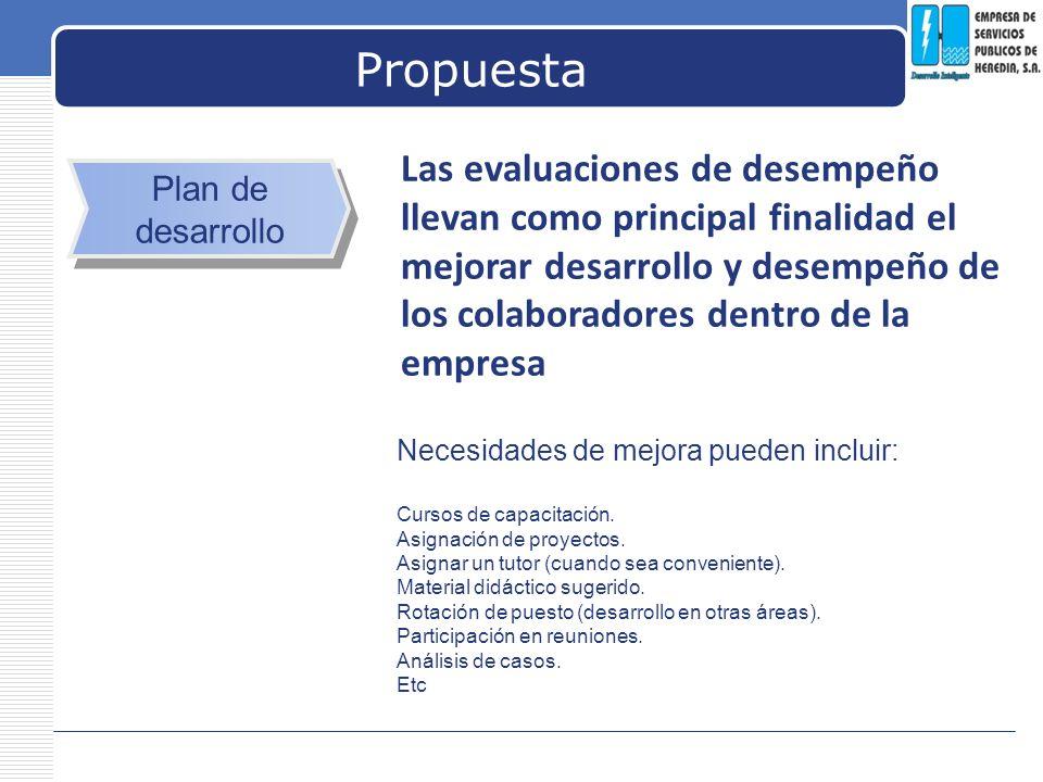 LOGO Propuesta Plan de desarrollo Las evaluaciones de desempeño llevan como principal finalidad el mejorar desarrollo y desempeño de los colaboradores