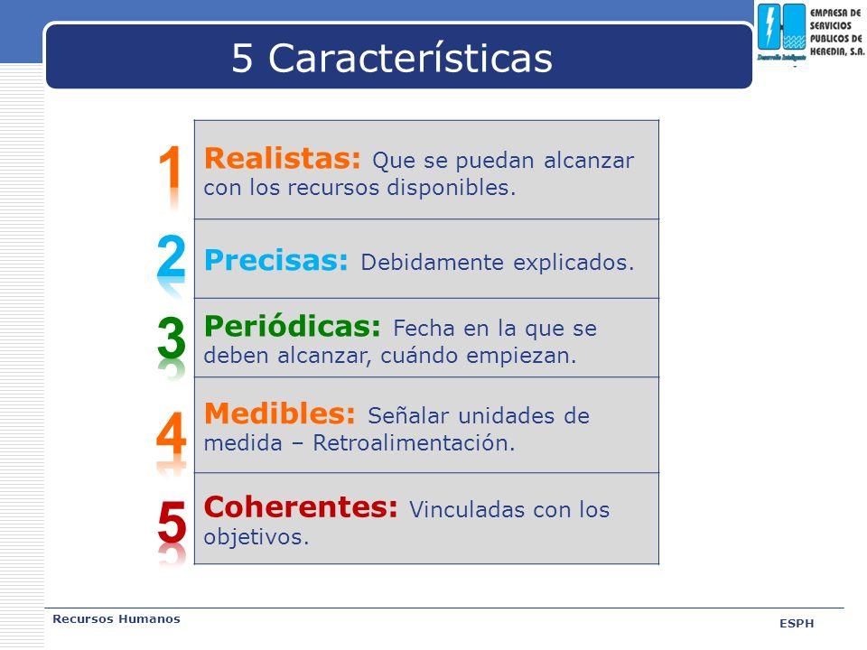LOGO 5 Características Recursos Humanos ESPH Realistas: Que se puedan alcanzar con los recursos disponibles. Precisas: Debidamente explicados. Periódi