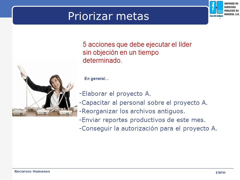 Priorizar metas - Elaborar el proyecto A. -Capacitar al personal sobre el proyecto A. -Reorganizar los archivos antiguos. -Enviar reportes productivos