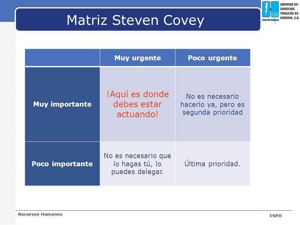 LOGO Matriz Steven Covey Recursos Humanos ESPH Muy urgentePoco urgente Muy importante !Aquí es donde debes estar actuando! No es necesario hacerlo ya,
