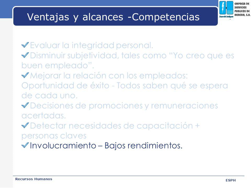 LOGO Ventajas y alcances -Competencias Recursos Humanos ESPH Evaluar la integridad personal. Disminuir subjetividad, tales como Yo creo que es buen em