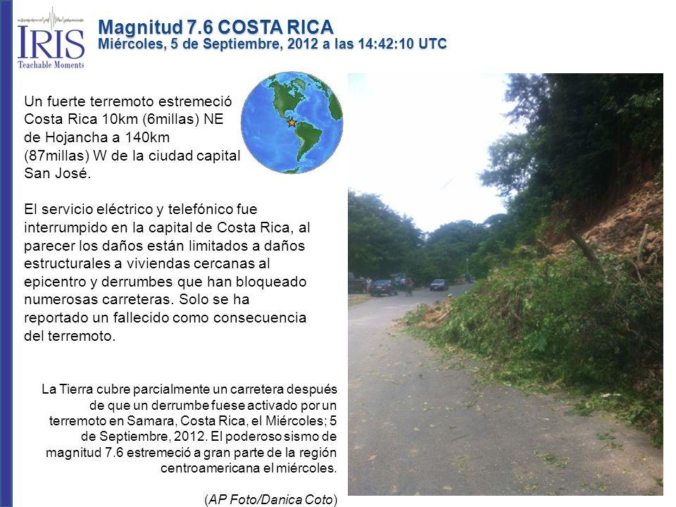 Un fuerte terremoto estremeció Costa Rica 10km (6millas) NE de Hojancha a 140km (87millas) W de la ciudad capital San José. El servicio eléctrico y te