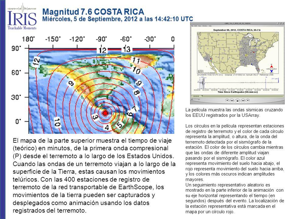 La película muestra las ondas sísmicas cruzando los EEUU registrados por la USArray. Los círculos en la película representan estaciones de registro de