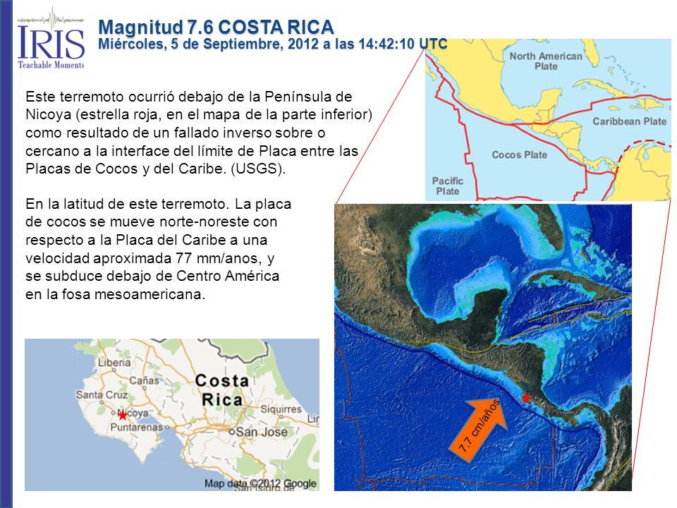 Este terremoto ocurrió debajo de la Península de Nicoya (estrella roja, en el mapa de la parte inferior) como resultado de un fallado inverso sobre o