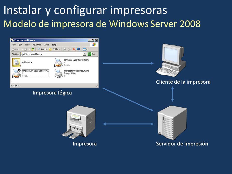 Impresora Impresora lógica Servidor de impresión Cliente de la impresora Instalar y configurar impresoras Modelo de impresora de Windows Server 2008