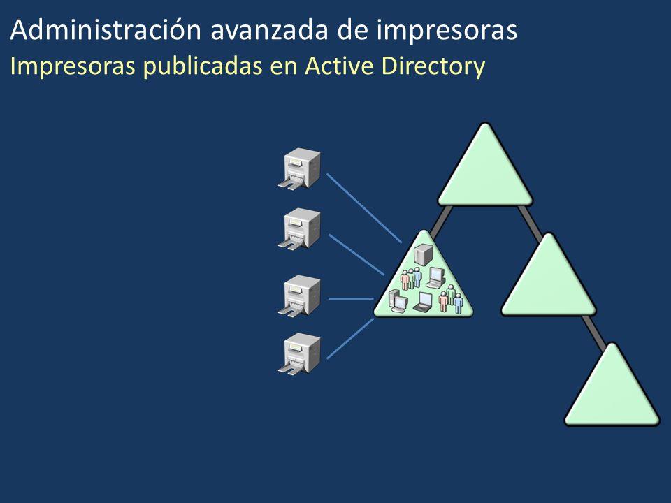 Administración avanzada de impresoras Impresoras publicadas en Active Directory