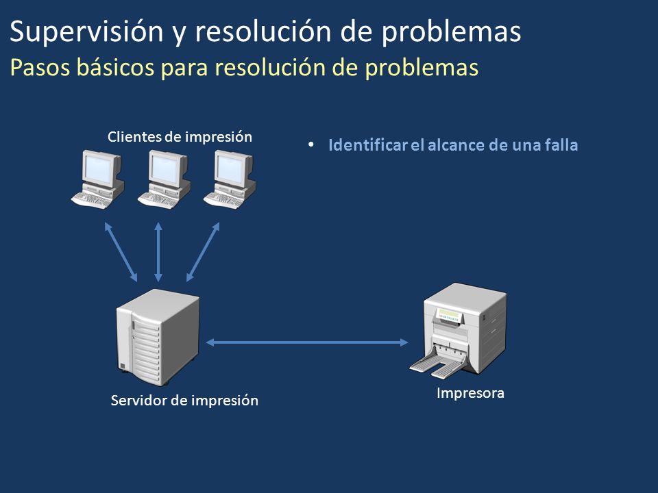 Supervisión y resolución de problemas Pasos básicos para resolución de problemas Identificar el alcance de una falla Clientes de impresión Servidor de
