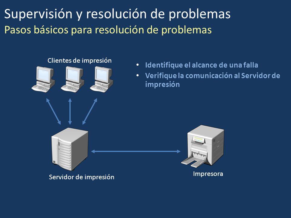 Identifique el alcance de una falla Verifique la comunicación al Servidor de impresión Clientes de impresión Servidor de impresión Impresora Supervisi