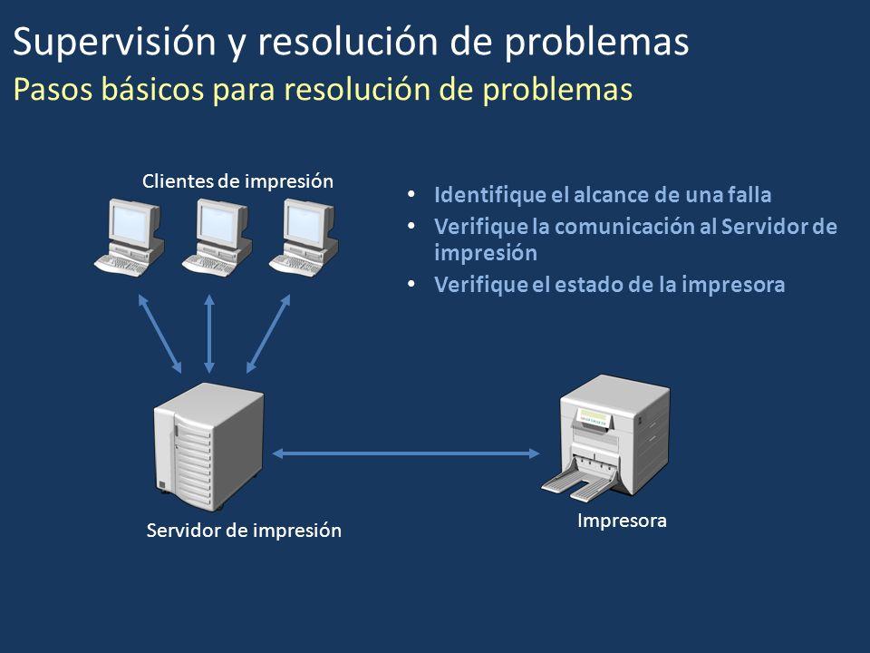 Identifique el alcance de una falla Verifique la comunicación al Servidor de impresión Verifique el estado de la impresora Clientes de impresión Servi