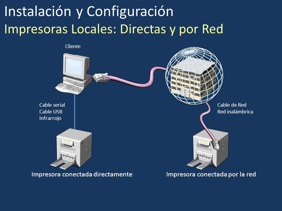 Instalación y Configuración Impresoras Locales: Directas y por Red Impresora conectada directamenteImpresora conectada por la red Cable serial Cable U