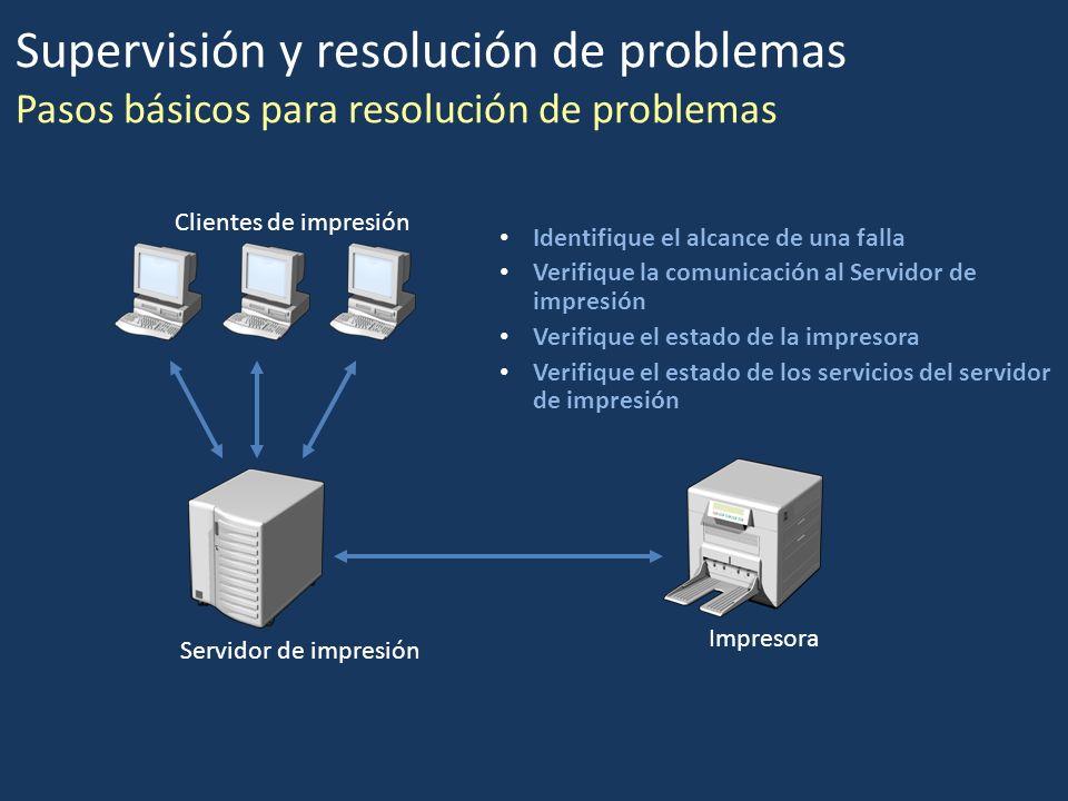 Identifique el alcance de una falla Verifique la comunicación al Servidor de impresión Verifique el estado de la impresora Verifique el estado de los