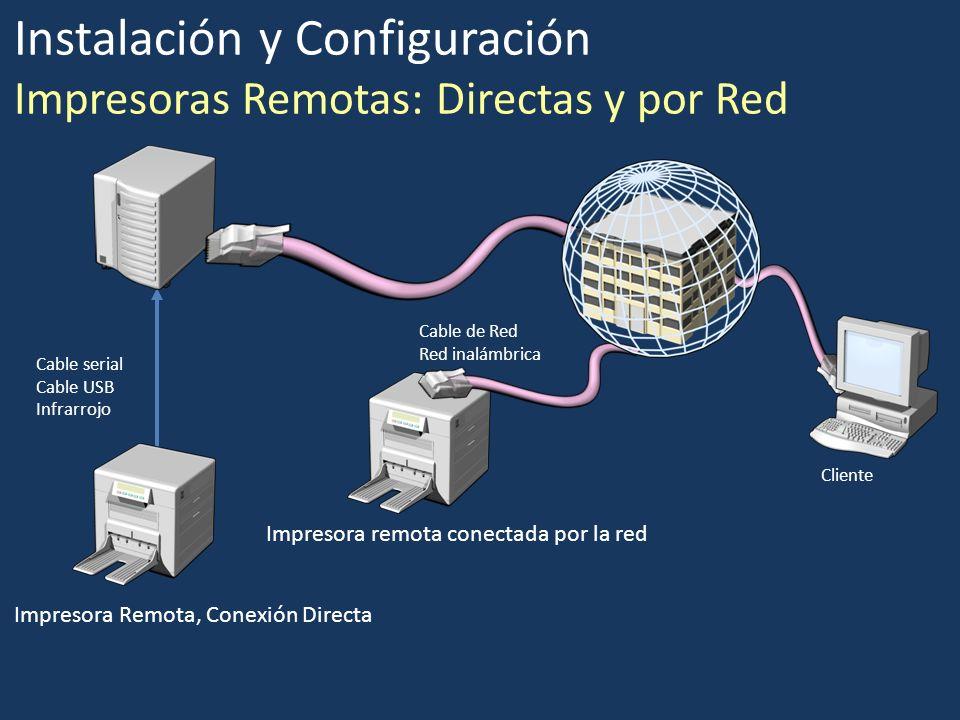 Instalación y Configuración Impresoras Remotas: Directas y por Red Impresora Remota, Conexión Directa Impresora remota conectada por la red Cable seri