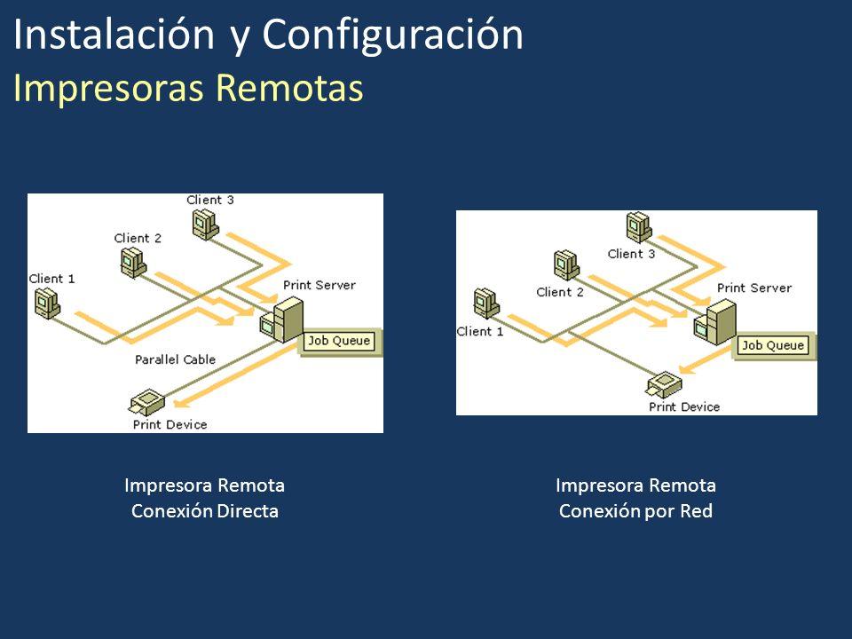 Instalación y Configuración Impresoras Remotas Impresora Remota Conexión Directa Impresora Remota Conexión por Red