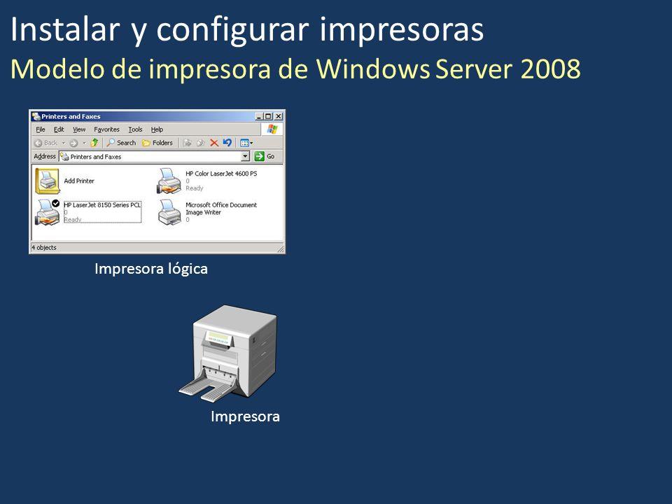 Instalar y configurar impresoras Modelo de impresora de Windows Server 2008 Impresora Impresora lógica