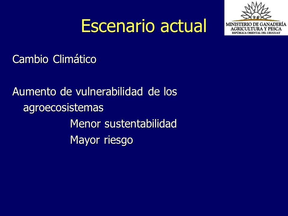 Escenario actual Cambio Climático Aumento de vulnerabilidad de los agroecosistemas Menor sustentabilidad Mayor riesgo