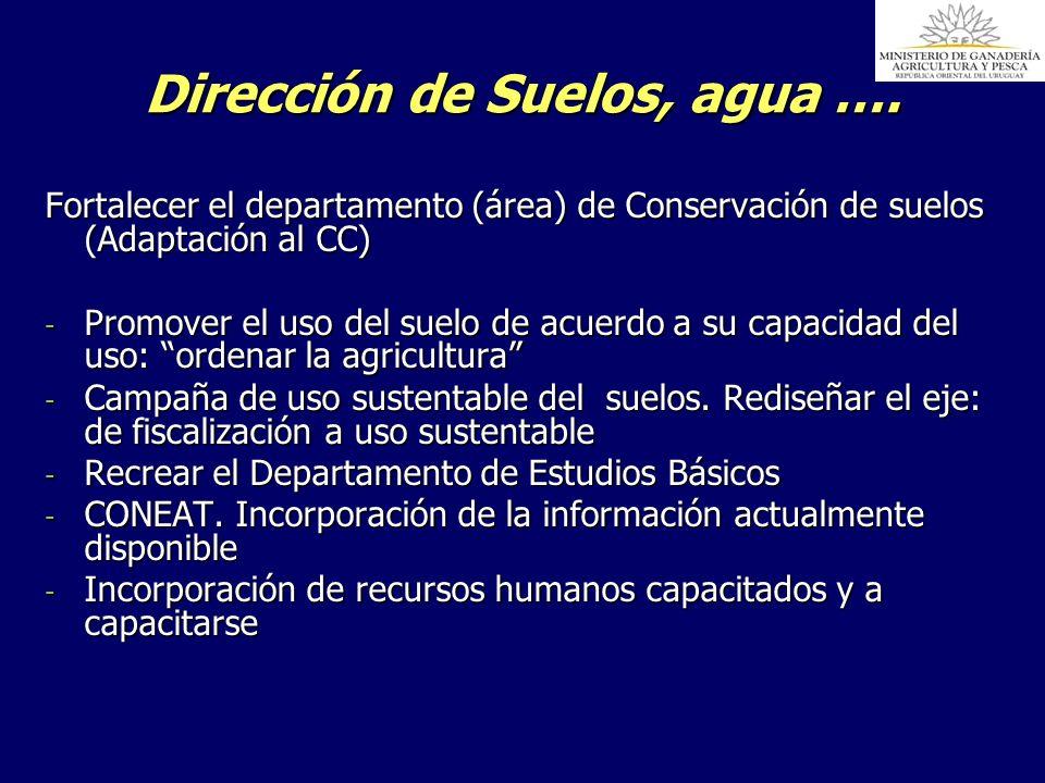Dirección de Suelos, agua …. Fortalecer el departamento (área) de Conservación de suelos (Adaptación al CC) - Promover el uso del suelo de acuerdo a s