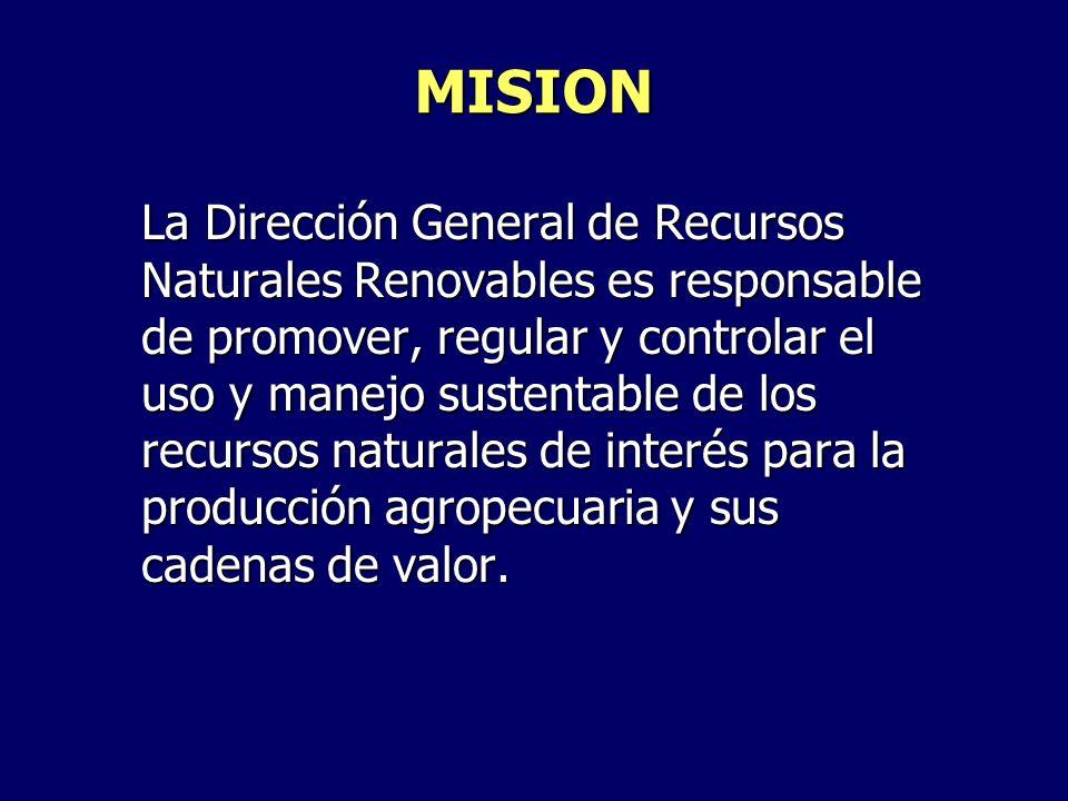 MISION La Dirección General de Recursos Naturales Renovables es responsable de promover, regular y controlar el uso y manejo sustentable de los recurs