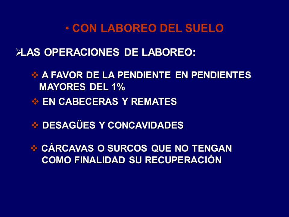 CON LABOREO DEL SUELO LAS OPERACIONES DE LABOREO: LAS OPERACIONES DE LABOREO: CÁRCAVAS O SURCOS QUE NO TENGAN COMO FINALIDAD SU RECUPERACIÓN CÁRCAVAS
